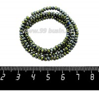 Бусины хрустальные на нити форма Рондель 3*2 мм, цвет зеленовато-золотистый металлик 40 см нить/около 200 бусин 059785 - 99 бусин