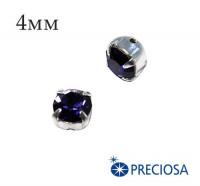Шатоны (стразы) PRECIOSA пришивные хрустальные, размер ss-16 (4 мм), цвет Purple Velvet/silver, 10 штук/упаковка, Чехия 059803 - 99 бусин