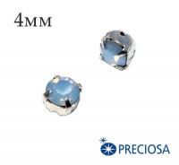Шатоны (стразы) PRECIOSA пришивные хрустальные, размер ss-16 (4 мм), цвет LT. Saphire Opal/silver, 10 штук/упаковка, Чехия 059804 - 99 бусин