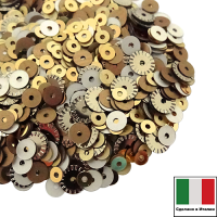 Микс пайеток МИЛАН (Плоские 3 мм 2011,236W, 4 мм 226W, 866W рифленые 5 мм 2071) золото, серебро, бронза, Италия 3 грамма 059820 - 99 бусин