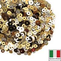Микс пайеток ВЕНЕЦИЯ (Плоские 3 мм 226W,236W,2011 4 мм 2011,2071) золото, серебро Италия 3 грамма 059821 - 99 бусин
