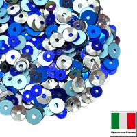 Микс пайеток РИМ (Плоские 3 мм 616W, MI08, 4 мм 606W, 6121, чаши 1111) синий, голубой, серебро Италия 3 грамма 059822 - 99 бусин