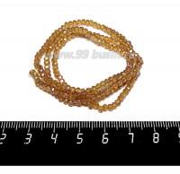 Бусины хрустальные на нити форма Рондель 3*2 мм, цвет медовый/радужный 43 см нить/около 200 бусин 059849 - 99 бусин