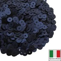 Пайетки 4 мм Италия плоские цвет 686W Blu Scuro Satinato (Тёмный синий сатин) 3 грамма (ок. 900 штук) 059873 - 99 бусин