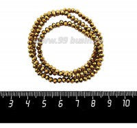 Бусины хрустальные на нити форма Рондель 3,5*2,5 мм цвет золотистый, 39 см нить/около 140 бусин 059878 - 99 бусин
