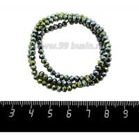 Бусины хрустальные на нити форма Рондель 3,5*2,5 мм, цвет зеленовато-золотистый металлик 39 см нить/около 140 бусин 059882 - 99 бусин