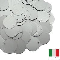 Пайетки 12 мм Италия плоские боковое отверстие цвет 916W Argento Satinato (матовое серебро) 3 грамма 059903 - 99 бусин