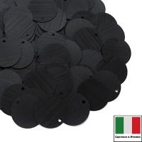 Пайетки 12 мм Италия плоские цвет 996W Nero Satinato (Чёрный сатин) 3 грамма 059905 - 99 бусин