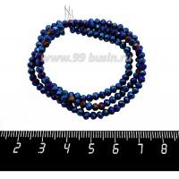 Бусины хрустальные на нити форма Рондель 3,5*2,5 мм цвет синий электрик, 36 см нить/около 145 бусин 059912 - 99 бусин