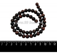 Натуральный Камень БЫЧИЙ ГЛАЗ  бусина круглая 8-8,5 мм вишнево-шоколадные тона, 38 см/нить 059925 - 99 бусин
