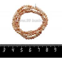 Бусины хрустальные на нити форма Рондель 3,5*2,5 мм, цвет молочный/песочный/радужный 39 см нить/около 145 бусин 059944 - 99 бусин