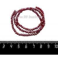 Бусины хрустальные на нити форма Рондель 3,5*2,5 мм непрозрачный рубиновый/радужный, около 39 см нить/145 бусин 059951 - 99 бусин