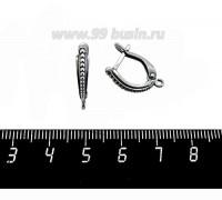 Швензы ювелирные Ритм 18*12*4 мм, оксидированное посеребрение 12 микрон, гипоаллергенные 1 пара, производство Россия 059972 - 99 бусин