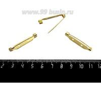 Основа для броши с крючком 30 мм, цвет золото, 2 отверстия ЯПОНИЯ 059975 - 99 бусин