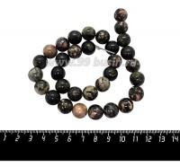 Натуральный камень РОДОНИТ круглая 12 мм, розоватые песочно-коричневые тона, около 38 см/нить 059986 - 99 бусин