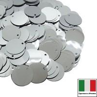 Пайетки 12 мм смещённое отверстие Италия плоские цвет 1111 Argento Metallizzato 3 грамма 060107 - 99 бусин