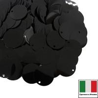 Пайетки 12 мм боковое отверстие Италия плоские цвет 9919 Nero (Чёрные) 3 грамма 060110 - 99 бусин