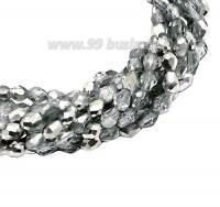 Бусина хрустальная Капля размер 8*6 мм прозрачная/серебро, нить 25-26 см, ок.35 штук Китай 060123 - 99 бусин