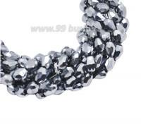 Бусина хрустальная Капля размер 8*6 мм серебристый, нить 25-26 см, ок.35 штук Китай 060125 - 99 бусин