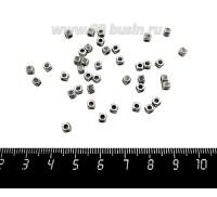 Разделитель кубик с точками 3*3,5 мм, цвет старое серебро, 40 штук/упаковка 060136 - 99 бусин