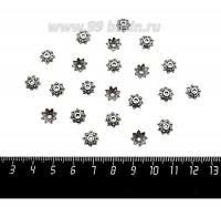 Шапочка для бусин Звёздчатая, 8*2 мм, цвет старое серебро, 20 штук/упаковка 060137 - 99 бусин