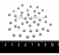 Шапочка для бусин Цидарис, 5*1,8 мм, цвет старое серебро, 40 штук/упаковка 060138 - 99 бусин