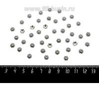 Шапочка для бусин Фиалка, 5,5*2 мм, цвет старое серебро, 40 штук/упаковка 060139 - 99 бусин