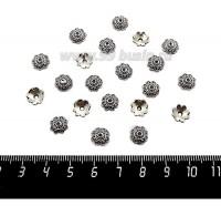 Шапочка для бусин Завитки, 8*2,5 мм, цвет старое серебро, 20 штук/упаковка 060140 - 99 бусин