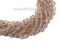 Бусина хрустальная Капля размер 8*6 мм золотисто-бежевый, нить 25-26 см, ок.35 штук Китай 060157 - 99 бусин