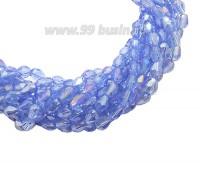 Бусина хрустальная Капля размер 8*6 мм синий/радужный, нить 25-26 см, ок.35 штук Китай 060164 - 99 бусин