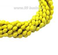 Бусина хрустальная Капля размер 7-8*5-6 мм непрозрачный желтый, нить 25-26 см, ок.35 штук Китай 060183 - 99 бусин