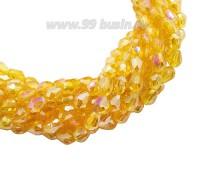 Бусина хрустальная Капля размер 8*6 мм солнечный желтый/радужный, нить 25-26 см, ок.35 штук Китай 060186 - 99 бусин