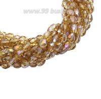 Бусина хрустальная Капля размер 7-8*5-6 мм светло-медовый/радужный, нить 25-26 см, ок.35 штук Китай 060190 - 99 бусин
