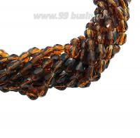 Бусина хрустальная Капля размер 8*6 мм коньячный, нить 25-26 см, ок.35 штук Китай 060192 - 99 бусин