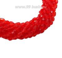 Бусина хрустальная Капля размер 8*6 мм красный, нить 25-26 см, ок.35 штук Китай 060209 - 99 бусин