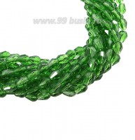 Бусина хрустальная Капля размер 8*6 мм зеленый/перламутр, нить 25-26 см, ок.35 штук Китай 060218 - 99 бусин