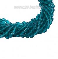 Бусина хрустальная Капля размер 8*6 мм темная морская волна, нить 25-26 см, ок.35 штук Китай 060221 - 99 бусин