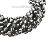 Бусина хрустальная Капля размер 8*6 мм дымчато-серый/серебристый, нить 25-26 см, ок.35 штук Китай 060224 - 99 бусин