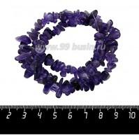 Натуральный камень АМЕТИСТ крошка 6*4*3 - 11*8*6 мм фиолетовые тона, 43 см/нить 060235 - 99 бусин