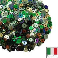 Микс пайеток ВИЧЕНЦА (Плоские 3 мм 7021,7041,2011 4 мм 7029,9275) золотистый, зеленый, олива, Италия 3 грамма 060239 - 99 бусин