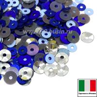 Микс пайеток РИМИНИ (Плоские 3 мм 616w, azzurro, 4 мм 0707,5561 чаши 4мм 1111) серебристый, голубой, синий, серый, Италия 3 грамма 060240 - 99 бусин