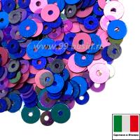Микс пайеток ПИЗА (Плоские 3 мм 5080, 616W, MI08 4 мм 6121, 396W) розовый,голубой, фиолетовый, Италия 3 грамма 060242 - 99 бусин
