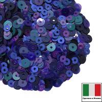 Микс пайеток ПАРМА (Плоские 3 мм 616W,5080 4 мм 118,5542,686W) синий, изумруд, сиреневый, фиолетовый, Италия 3 грамма 060243 - 99 бусин