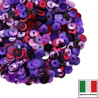 Микс пайеток РАВЕННА (Плоские 4 мм 5020, 5511, 5080 Чаша 4 мм 5031, 556W) фуксия, сиреневый, фиолетовый, Италия 3 грамма 060246 - 99 бусин