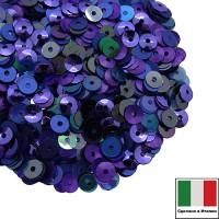 Микс пайеток ПОРТОФИНО (Плоские 4 мм 124, 616W,9275 Чаша 4 мм 5161, 556W) синий, сиреневый, фиолетовый, изумруд, голубой, графит, Италия 3 грамма 060247 - 99 бусин