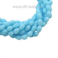 Бусина хрустальная Капля размер 7-8*5-6 мм непрозрачный небесно-голубой, нить 25-26 см, ок.35 штук Китай 060250 - 99 бусин