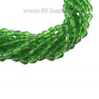 Бусина хрустальная Капля размер 7-8*5-6 мм насыщенный зеленый, нить 25-26 см, ок.35 штук Китай 060251 - 99 бусин