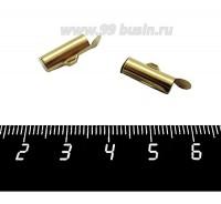 Концевик трубка 13*6 мм, цвет золото, 2 штуки/упаковка 060252 - 99 бусин