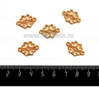 """Коннектор """"Суздаль"""" 20*13 мм 2 петли, цвет золото 1 штука 060261 - 99 бусин"""