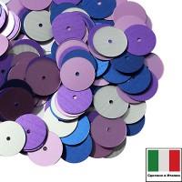 Микс пайеток АБРУЦЦИ (Плоские 10 мм 556W, 506W,916W,616W) сатиновое серебро, сиреневый, синийИталия 3 грамма 060333 - 99 бусин